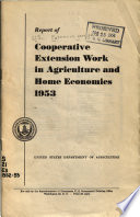 A Report of Cooperative Extension Work in Agriculture and Home Economics in