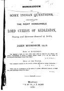 Memorandum on Some Indian Questions