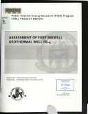 Assessment Of Fort Bidwell Geothermal Well Fb 4 Book PDF