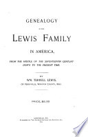 Genealogy of the Lewis Family in America Book