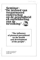 Influence of planned parenthood on the health and development of the people