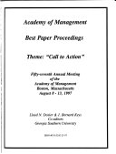 Best Papers Proceedings ... Annual Meeting of the Academy of Management