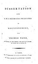 Dissertation sur les prémiers principes de gouvernement