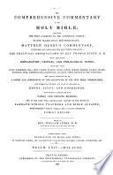 The Comprehensive Commentary on the Holy Bible  Psalm LXIV Malachi  1837