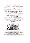 Istoria della vita e del pontificato di S. Gregorio Magno Papa ... Con un ragionamento sopra gli studi ecclesiastici
