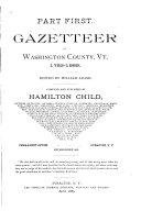 Gazetteer of Washington County  Vt   1783 1889