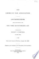 Land Transfer Reform with an Explantion of the New York Block-indexing Act