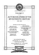 Autobiographers Of The Seventeenth Century 1630 1690