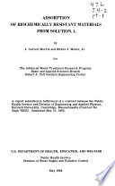 Adsorption of Biochemically Resistant Materials from Solution  1 Book