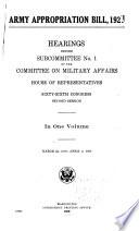 Army Appropriation Bill, 1921