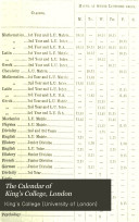The Calendar of King s College  London