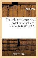 Trait Du Droit Belge Droit Constitutionnel Droit Administratif