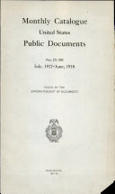 Monthly Catalogue United States Public Documents Book PDF
