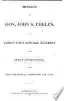 Appendix to the House and Senate Journals of the     General Assembly of the State of Missouri