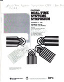Real Time Systems Symposium December 1 3 1987 Fairmont Hotel San Jose California Book PDF