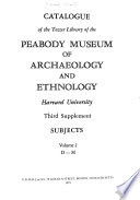 Catalog of the Tozzer Library of the Peabody Museum of Archaeology and Ethnology, Harvard University, subjects