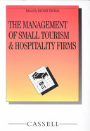 The Management of Small Tourism and Hospitality Firms Book