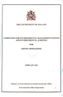 Guidelines for Environmental Management System and Environmental Auditing for [name of Operations]: Mining operations