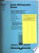 Nuclear Magnetic Resonance Studies in Plant Science  January 1984 October 1988 Book