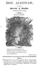 Don Algonah; or, The sorceress of Montillo