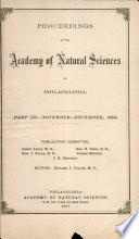 Proceedings Of The Academy Of Natural Sciences Part Iii Nov Dec 1884