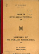 Index To South African Periodicals