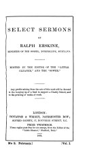 Select sermons of Ralph Erskine, ed. by the editor of the 'Little gleaner'