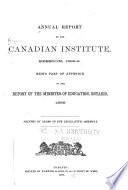 Annual Report of the Canadian Institute Book