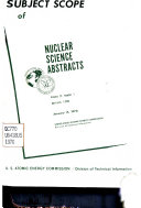 Subject Scope of Nuclear Science Abstracts
