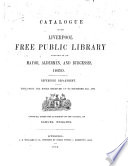 Catalogue of the Liverpool Free Public Library