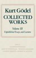 Kurt G  del  Collected Works  Volume III