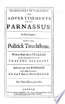 I Ragguagli di Parnasso  or  Advertisements from Parnassus in two centuries  With the Politick touchstone     Put into English by     Henry Earl of Monmouth