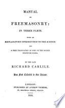 Manual of Freemasonry Book