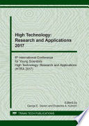 High Technology  Research and Applications 2017 Book