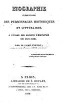 Biographie élémentaire des personnages historiques et littéraires