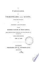 A parallel of Shakspeare and Scott  3 lectures on the kindred nature of their genius Book