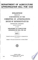 Department of Agriculture Appropriation Bill for 1949