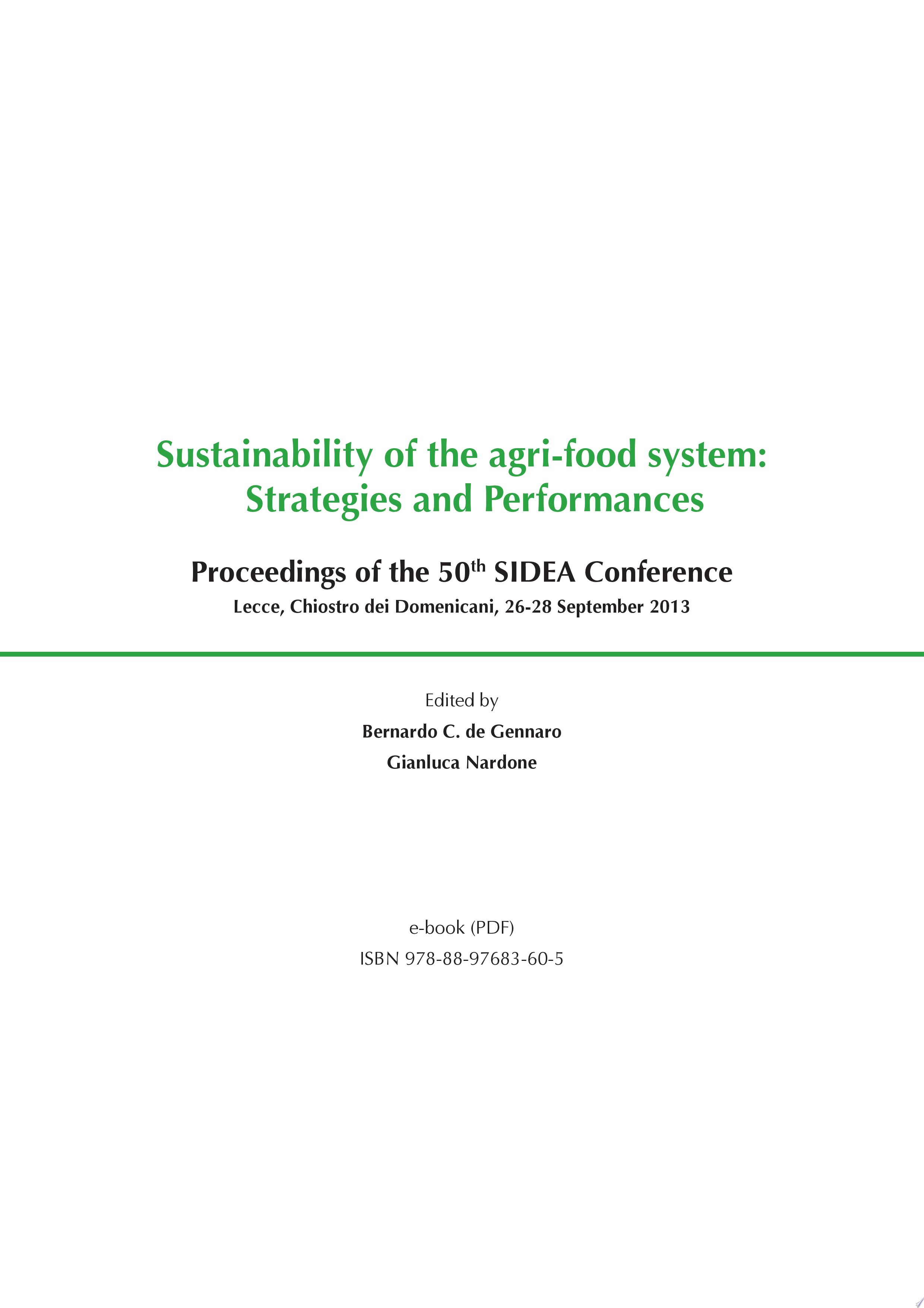 Sustainability of the Agri food System  Strategies and Performances