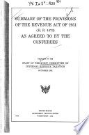 Summary of the Provisions of the Revenue Act of 1951  H R  4463  as Agreed to by the Conferees Book
