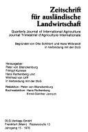 Zeitschrift für ausländische Landwirtschaft