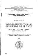 Rainfall Penetration And Consumptive Use Of Water In Santa Ana River Valley And Coastal Plain Book