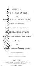 American Turf Register And Racing Trotting Calendar
