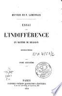 Essai sur l'indifférence en matière de religion
