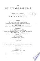 The Quarterly Journal of Pure and Applied Mathematics Book