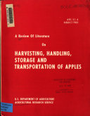 A Review of Literature on Harvesting  Handling  Storage  and Transportation of Apples