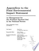 Final Environmental Impact Statement on Management for the Northern Spotted Owl in the National Forests