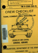 Pdf Crew Checklist for Tank, Combat, Full Tracked, M1 (2350-01-061-2445) General Abrams