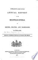 Annual Report of Births  Deaths  and Marriages in England and Wales
