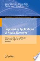 Engineering Applications of Neural Networks Book