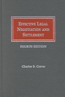 Effective Legal Negotiation and Settlement Book PDF